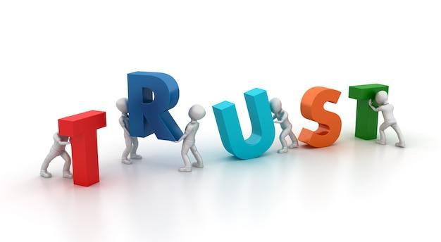 Personagens de negócios de desenho animado 3d e palavra de confiança