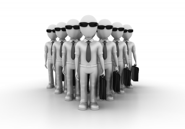 Personagens de negócios de trabalho em equipe de desenhos animados 3d