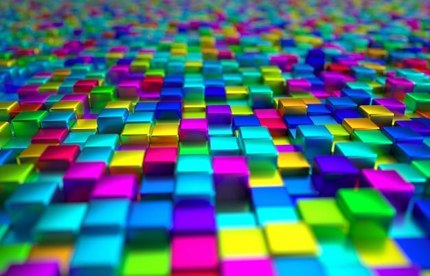 Perspectiva colorida fundo bloco metálico