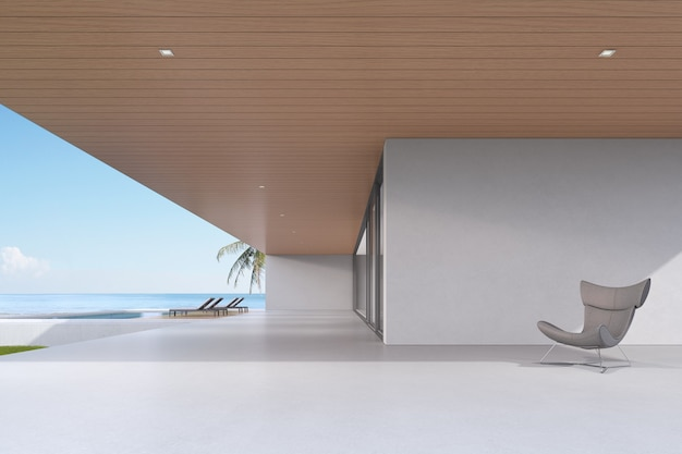 Perspectiva da casa de luxo moderna com parede de concreto vazia no fundo do mar, exterior. renderização 3d.