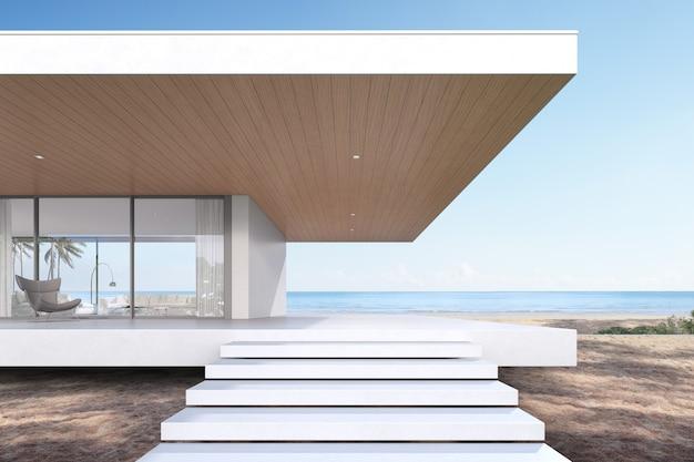 Perspectiva da casa de praia luxuosa moderna com escada de entrada no fundo do mar, exterior. renderização 3d.