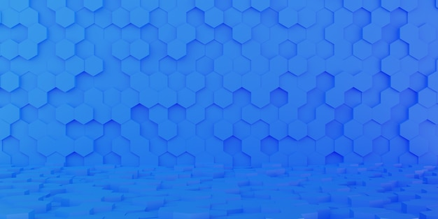 Perspectiva de fundo hexagonal gradiente azul abstrato 3d, papel de parede em forma de hexágono
