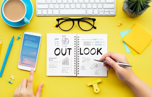 Perspectiva de negócios de objetivos e conceitos de projeto de planejamento