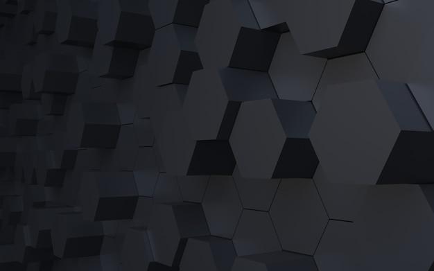 Perspectiva de renderização 3d fundo abstrato hexágono preto