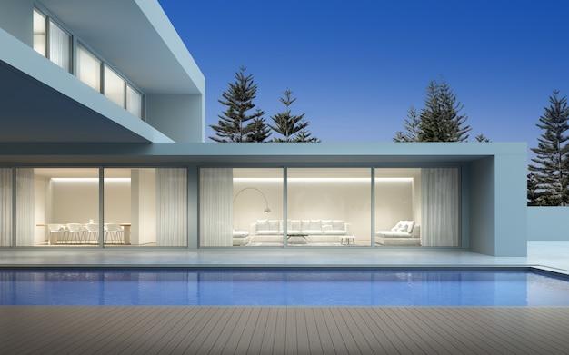 Perspectiva de uma casa de luxo moderna com terraço e piscina