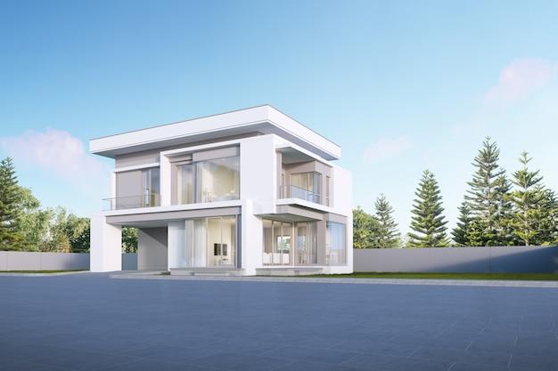Perspectiva de uma casa de luxo moderna, exterior, arquitetura mínima. renderização 3d.
