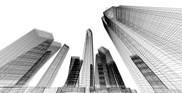 Perspectiva do edifício, paisagem urbana em fundo branco, edifício moderno no horizonte da cidade