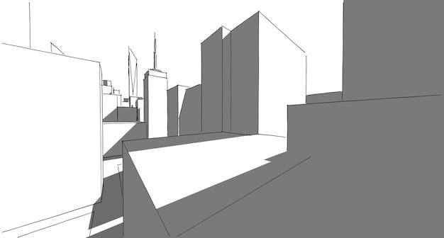 Perspectiva do edifício paisagem urbana no fundo branco edifício moderno no horizonte da cidade