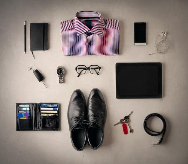 Pertences de um homem de negócios