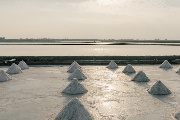 Perto das pilhas de sal na fazenda de sal da água do mar.