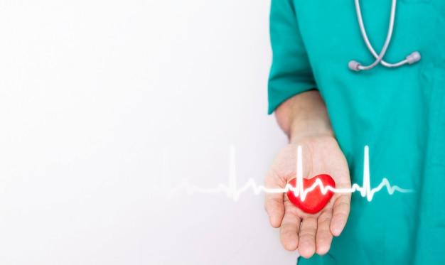 Perto de um coração vermelho na mão de um médico com um cardiograma