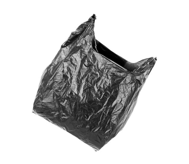Perto de um saco de lixo em fundo branco com traçado de recorte