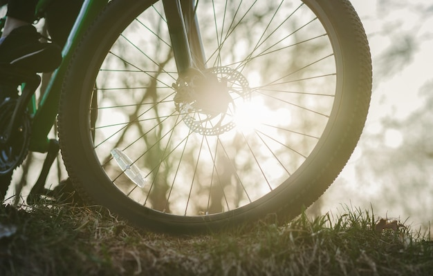 Perto de uma roda de mountain bike ao pôr do sol na grama
