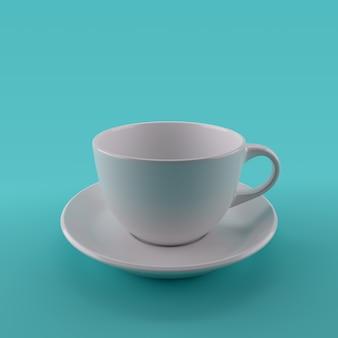Perto de uma xícara de café sobre fundo verde. renderização 3d