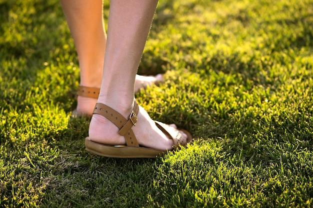 Perto dos pés da mulher com sapatos de sandálias de verão, caminhando no gramado de primavera coberto com grama verde fresca.