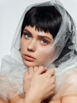 Peruca preta de retrato de mulher, retrato de beleza