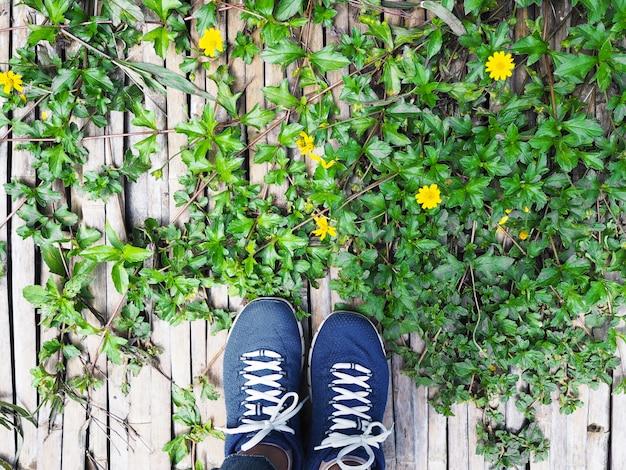Pés de mulher selfie no caminho de madeira com planta trepadeira verde e pequenas flores amarelas.