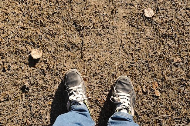 Pés de tênis no chão agulhas de pinheiro