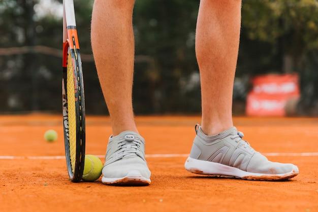 Pés, de, um, jogador tênis