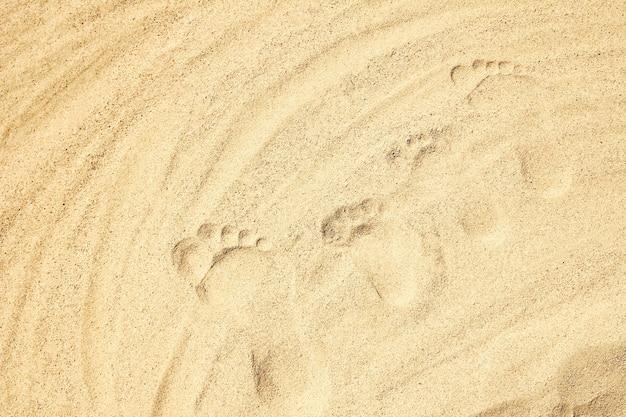 Pés desenhados no fundo de areia da praia.