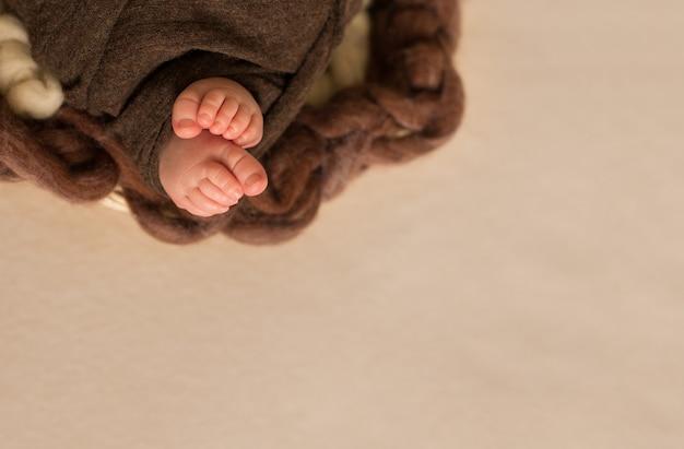 Pés do bebê recém-nascido nas mãos da mãe, menina com flores cor de rosa, dedos no pé, cuidados maternos, abraços de amor e familiares, ternura.