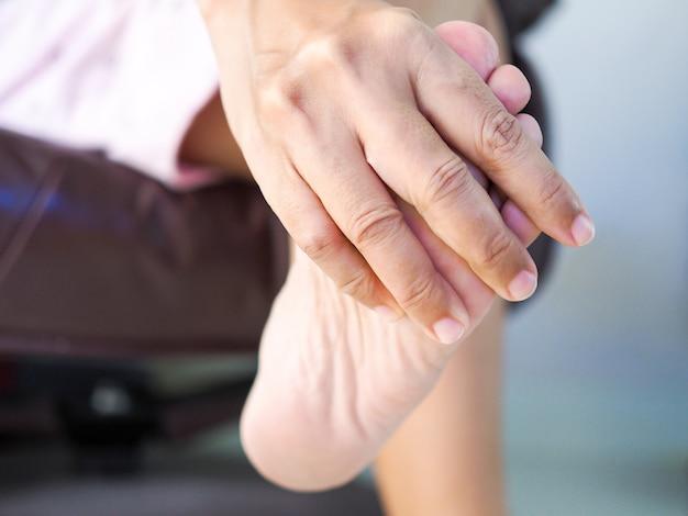 Pés femininos e solas do calcanhar com dor no calcanhar, doença do ligamento inflamatório do pé.