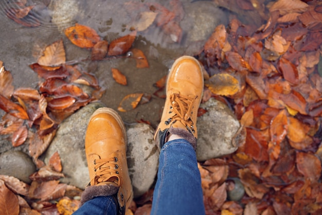 Pés femininos em pedras caídas nas folhas de outono