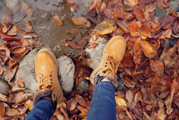 Pés femininos nas pedras caídas das folhas de outono vista superior