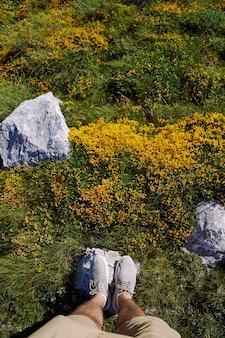Pés masculinos ficam em uma pedra entre grama verde e flores silvestres amarelas