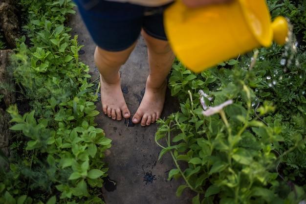 Pés sujos de uma menina perto no caminho no jardim
