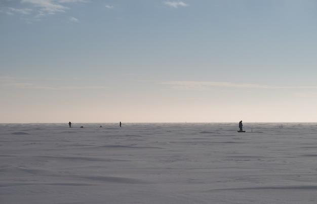 Pesca de inverno no mar congelado. vários pescadores