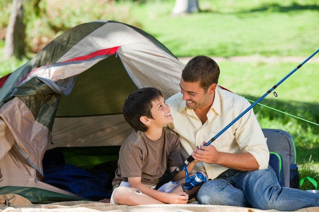 Pesca do filho com seu pai