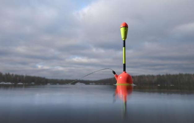 Pesca flutuante no lago