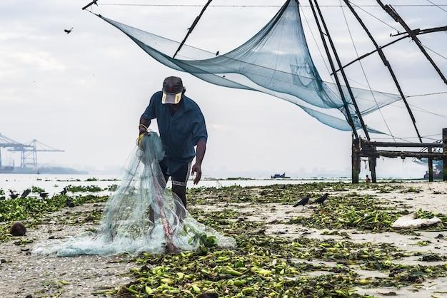 Pesca pescador tradicional da índia
