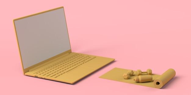 Pesos de esteira e mão na frente de um laptop. esporte online. ilustração 3d. copie o espaço.