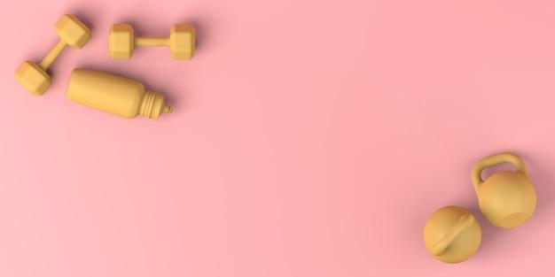 Pesos de mão e garrafa de água. postura plana. ilustração 3d. copie o espaço. ginástica.