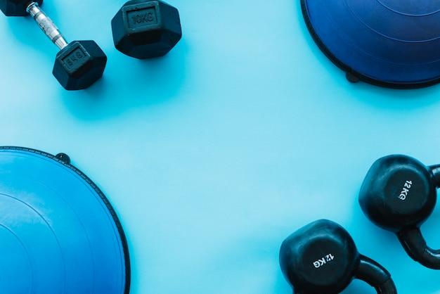 Pesos de vista superior azul