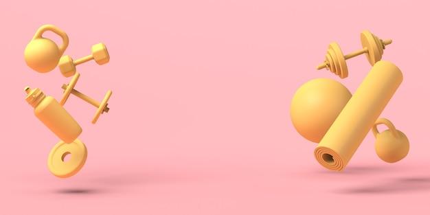 Pesos, garrafa de água, bola de pilates e tapete flutuante. ilustração 3d. copie o espaço. ginástica.
