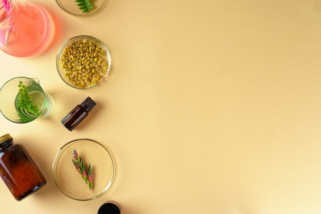 Pesquisa conceitual de suplementos alimentares de beleza e cuidados com a pele em laboratório
