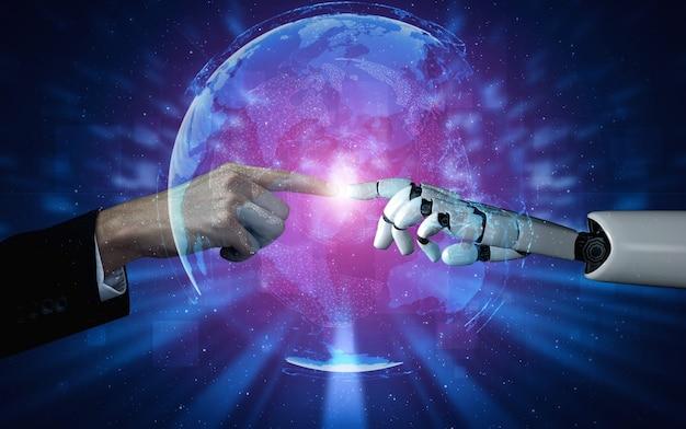 Pesquisa de inteligência artificial de ia de desenvolvimento de robôs e ciborgues para o futuro das pessoas que vivem