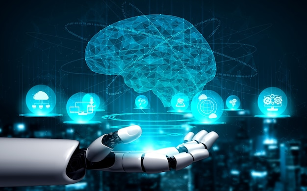 Pesquisa de inteligência artificial de ia de desenvolvimento de robôs e ciborgues
