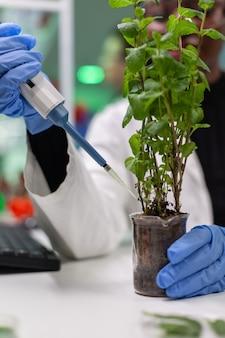 Pesquisador botânico africano colocando solução genética de tubo de ensaio
