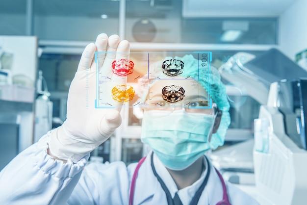 Pesquisadores médicos dos cuidados médicos da jovem mulher que trabalham no laboratório de ciências da vida.