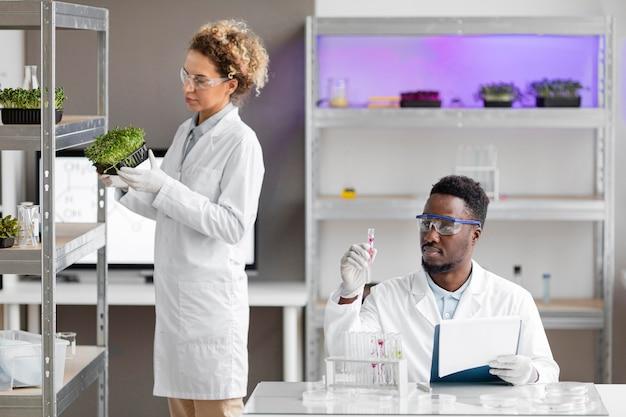 Pesquisadores na planta de verificação de laboratório