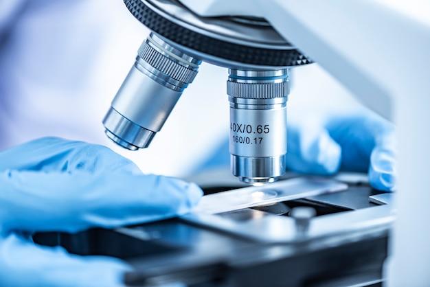 Pesquisadores que trabalham com microscópios