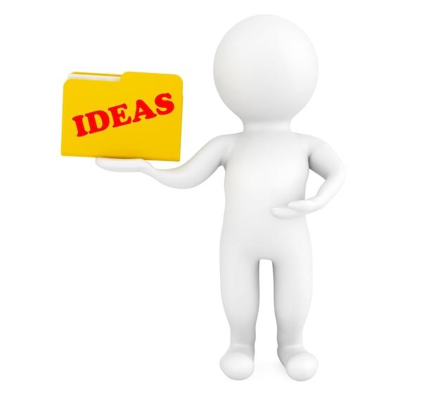 Pessoa 3d com pasta e sinal de ideias em um fundo branco