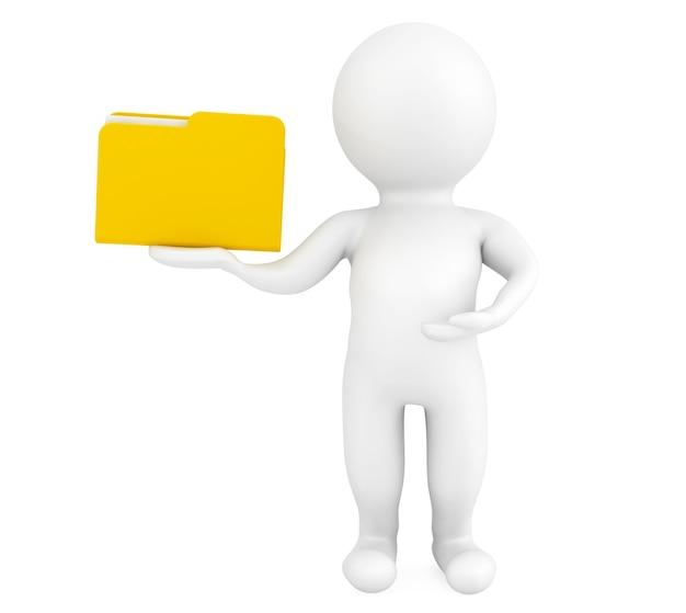 Pessoa 3d com pasta em um fundo branco