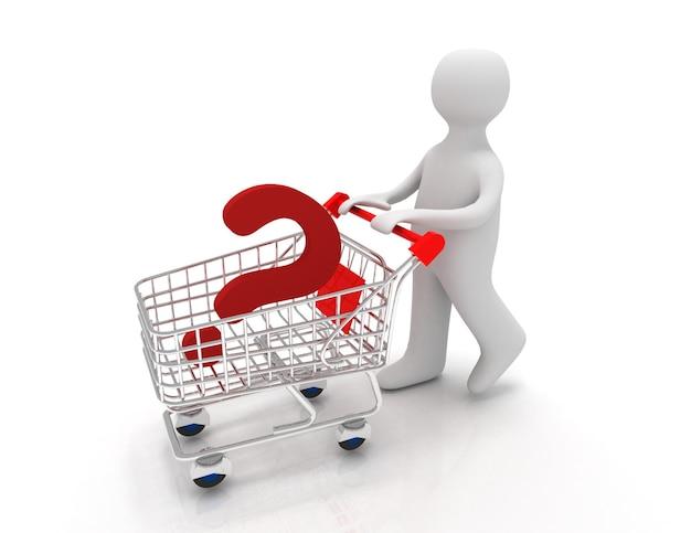 Pessoa 3d com ponto de interrogação em um carrinho de mão