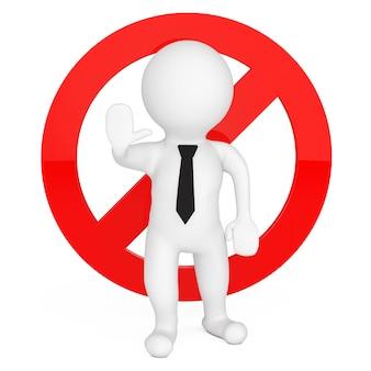 Pessoa 3d com sinal de aviso de parada vermelha em um fundo branco. renderização 3d.