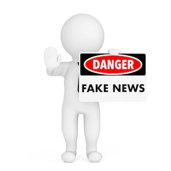 Pessoa 3d com sinal de perigo de notícias falsas na mão em um fundo branco. renderização 3d.